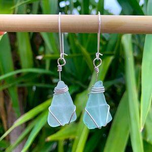 Aquamarine sea glass earrings